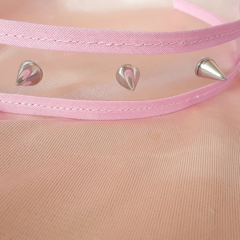 Pink clear vinyl spike stud choker