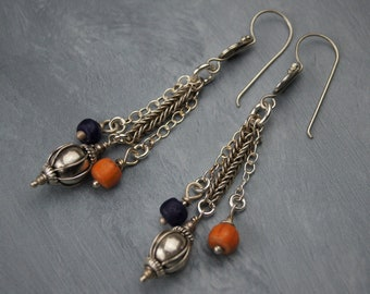 Long Sterling Silver Dangle Earrings