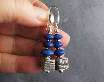 Large Natural Lapis Lazuli and Sterling Silver Dangle Statement Earrings
