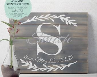 Monogram Name STENCIL or DECAL / Floral Monogram  / One-Time Use Adhesive Vinyl Stencil / Vinyl Decal