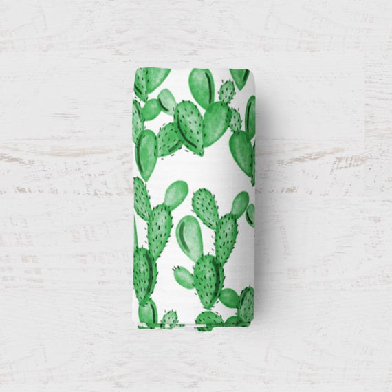 Cactus Swaddle Baby Blanket Ready To Ship Muslin Swaddle