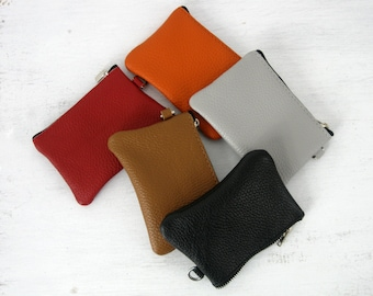 LEATHER CHANGE PURSE - Leather Coin Purse - Coin Purse - Small Leather Pouch - Key Chain Pouch - Keychain Credit Card Wallet