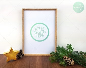 Download Free Mockup frame art, 8X11 mockup for printables, PSD mockup, Christmas stocking, stock photos decoration, psd template, pine tree, wooden frame PSD Template
