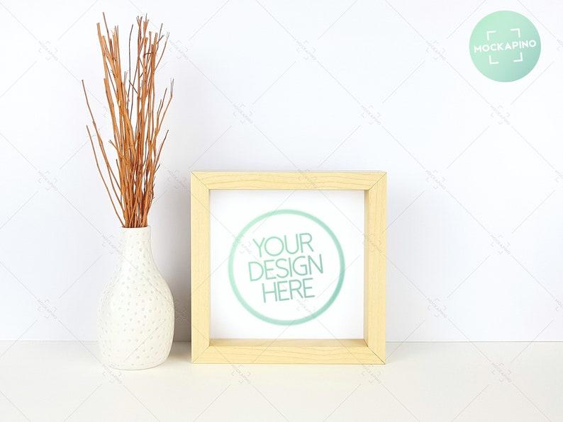 5406e7892ce1 Square frame mockup square wooden frame natural wood 6x6