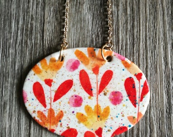 Hand Painted Watercolor Necklace