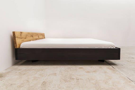 Woodboom Bett Schwebend Schwarz Lasiert Eiche Kopfteil Etsy