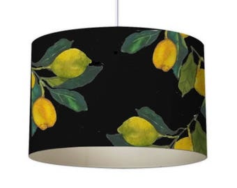 Lemon lamp shade etsy patterned lampshade designer lampshade lemon lampshade ceiling lampshade contemporary lampshade black lampshade standard lampshade aloadofball Image collections