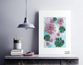 Chrysanthemum print, flower Wall art, flower picture, instant download, flower Art Print, Contemporary art, Botanical print, flower print