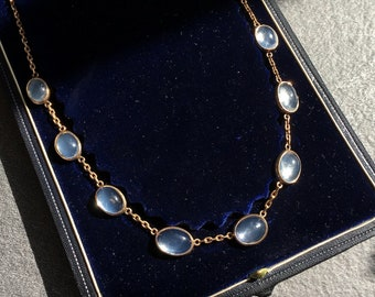 Vintage French Moonstones Necklace, 18kt gold, circa 1880