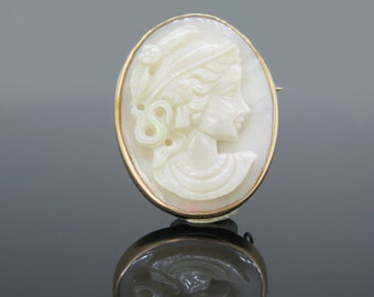Vintage Greek Style Lady Opal Cameo, 14kt Gold