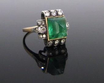 03bdcf26d Art Deco Sugarloaf Emerald and Diamonds Ring, 12kt gold and silver, circa  1920