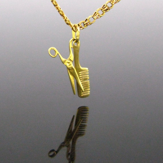 Vintage Pair of Scissor and Hair comb  Pendant Cha