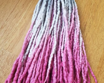 42 DE pink and grey wool dreadlock extensions
