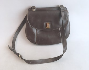 Vintage Burberrys brown leather satchel   shoulder bag 24e15a8a41829