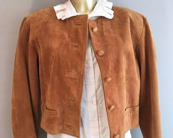 1980s Tan Suede Leather  cropped jacket size Medium / 12 UK