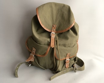 Canvas and Leather khaki green rucksack   backpack 6ab5cc7c2fd5a