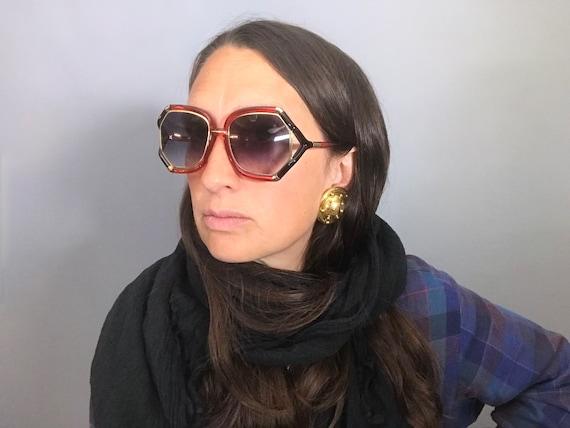 1970s Vintage Ted Lapidus Paris Octagon Sunglasse… - image 2