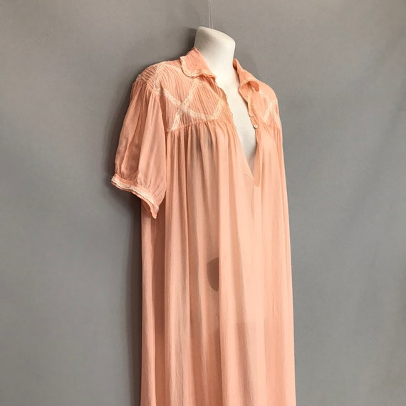 Original 1940s coral pink Silk Chiffon night gown… - image 2