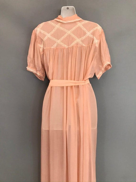 Original 1940s coral pink Silk Chiffon night gown… - image 8