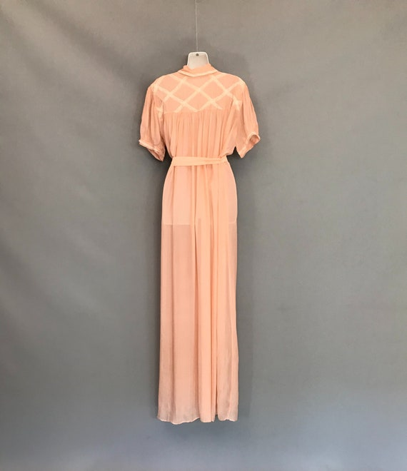 Original 1940s coral pink Silk Chiffon night gown… - image 9