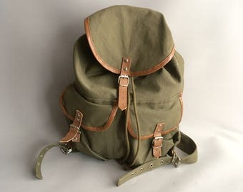 Canvas and Leather  khaki green rucksack / backpack
