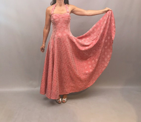 1950s Pink jacquard halter neck gown made by Blane