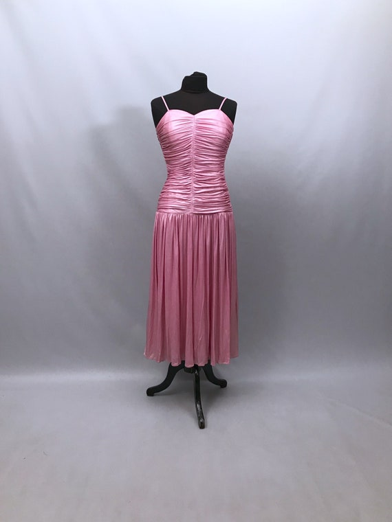1980s shiny pink pearlescent prom dress size 10 uk