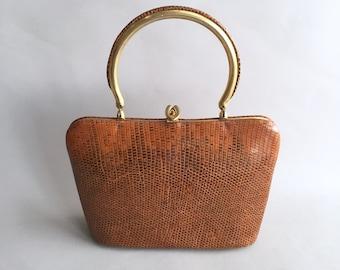 1950s snakeskin handbag with mini purse and mirror