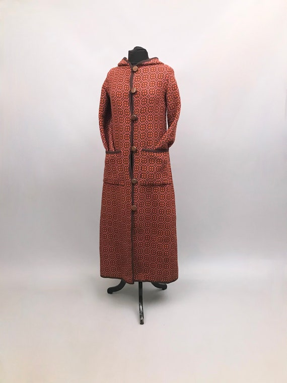 Vintage Welsh Tapestry hooded  Wizard Coat / Maxi