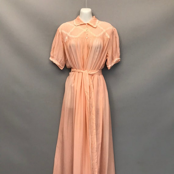 Original 1940s coral pink Silk Chiffon night gown… - image 1