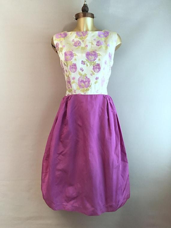1950's handmade violet evening dress size 10 - 12