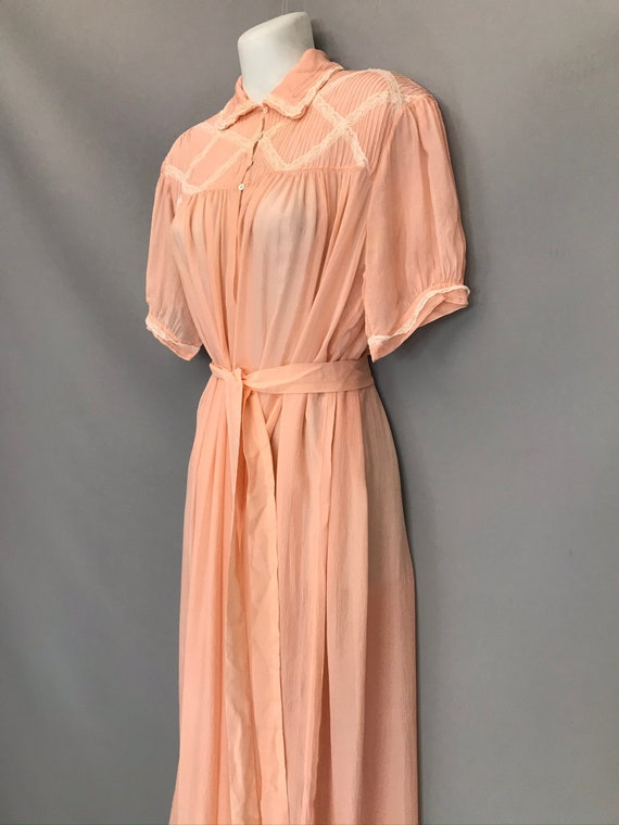 Original 1940s coral pink Silk Chiffon night gown… - image 6