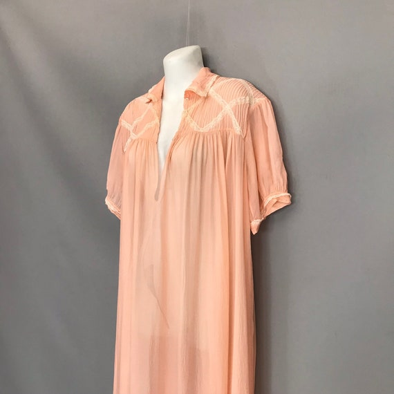 Original 1940s coral pink Silk Chiffon night gown… - image 3