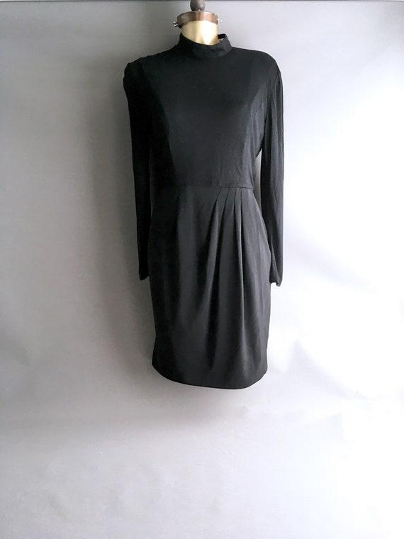 1990s Karl Lagerfeld Black viscose jersey dress  l