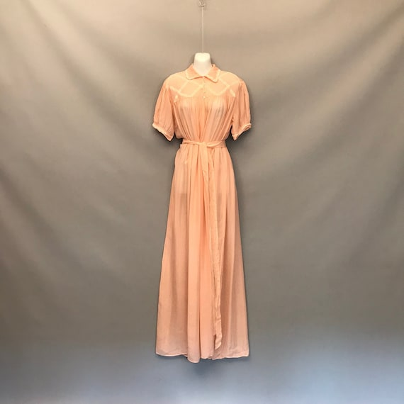 Original 1940s coral pink Silk Chiffon night gown… - image 5