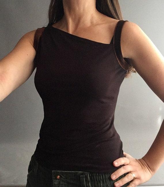 1990s asymmetric Brown  crepe Biba vest top with v