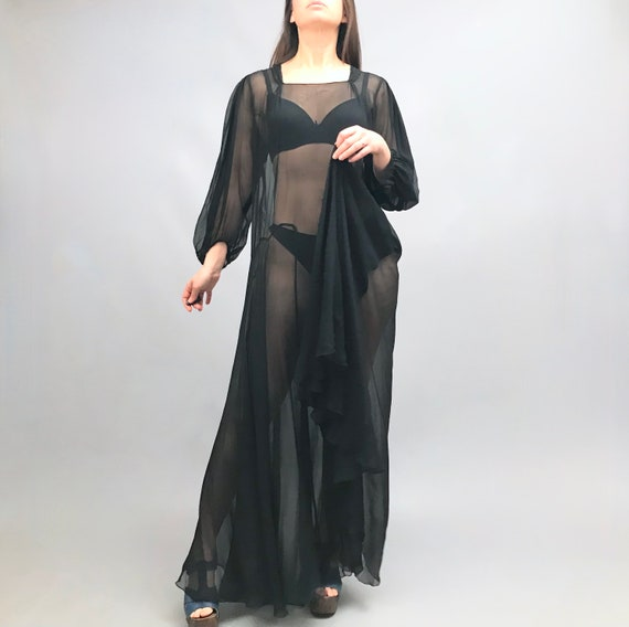 Original 1930s Black Silk Chiffon gown / dress