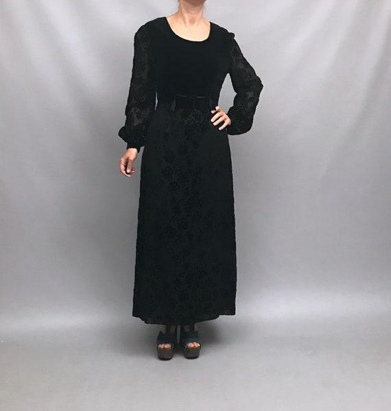 1960s black velvet dress with Devore' flowers on t