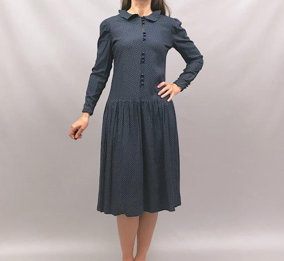 Cute 1980s blue on black ditsy print floral dress