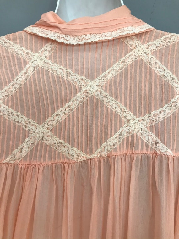 Original 1940s coral pink Silk Chiffon night gown… - image 10