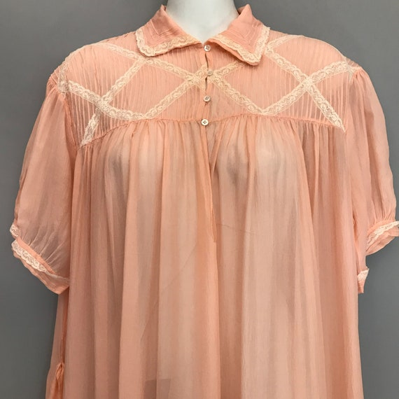 Original 1940s coral pink Silk Chiffon night gown… - image 4