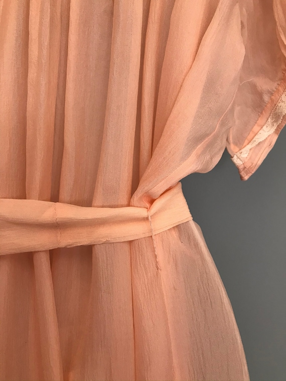 Original 1940s coral pink Silk Chiffon night gown… - image 7