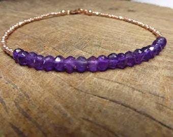 Purple Amethyst & 24k Rose Gold Karen Hill Tribe  Bracelet February Birthstone Delicate Gemstone Stacking Bracelet