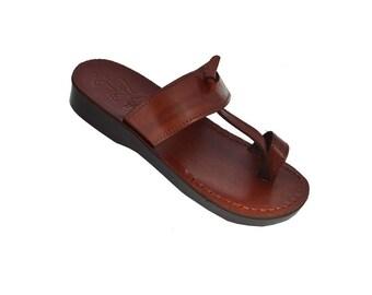 Jesus sandals for men , made from genuine leather ,made in Jerusalem . unique vintage sandals easy wear to slip on , brown color sandals .