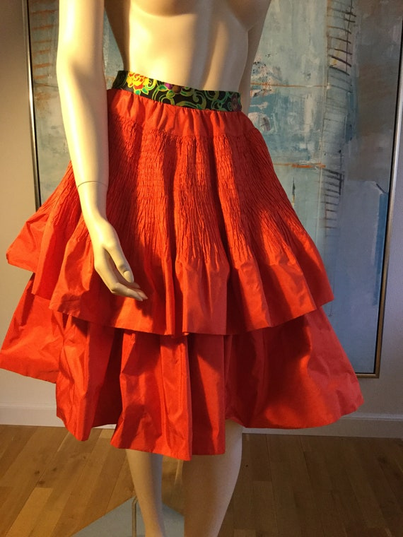 1990s red taffeta silk skirt