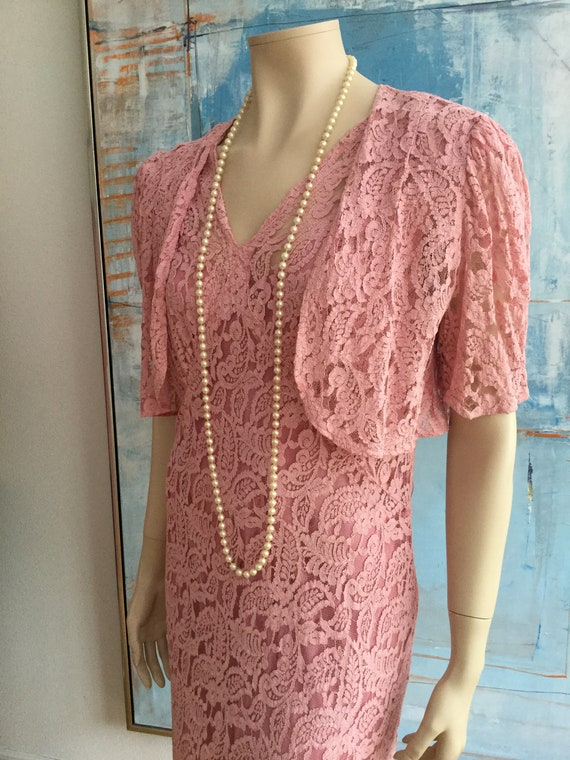 1930/40s Pink floral net lace bias gown