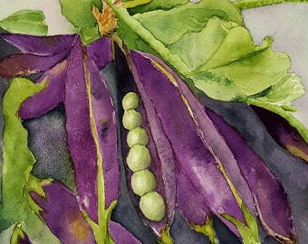 Purple Podded Peas blank greeting card