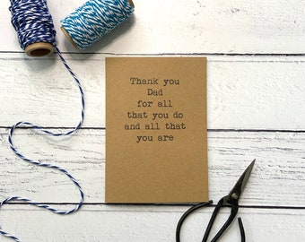 Thank you Dad card, Father's day card