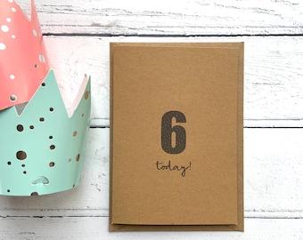 6th birthday card, Sixth birthday card