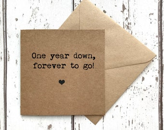 First anniversary card, first anniversary, 1st anniversary card, 1st anniversary, anniversary card, love card, one year down, card for her